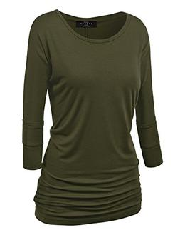 Made By Johnny WT822 Womens 3/4 Sleeve with Drape Top XXL Ol