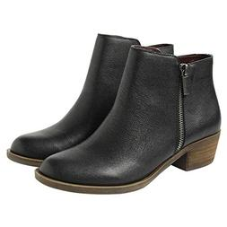 NEW Kensie Women's Short Leather Boots Black Ankle Bootie Gh