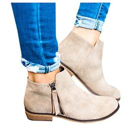 Boots for Women Ankle Winter Low Heel Western Side Zipper Po