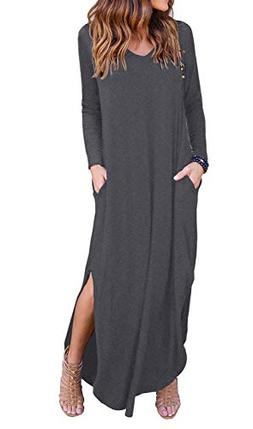 GRECERELLE Women's Casual Loose Pocket Long Dress Long Sleev