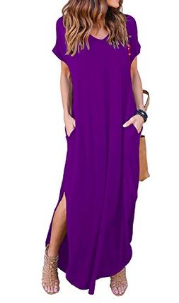 GRECERELLE Womens Casual V Neck Side Split Beach Long Maxi D