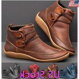 Casual Women's Flat Leather Retro Strap Boots Round Toe Shoe