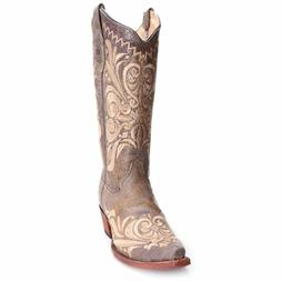 Circle G Womens Distressed Embroidered Scroll Cowboy Boots L