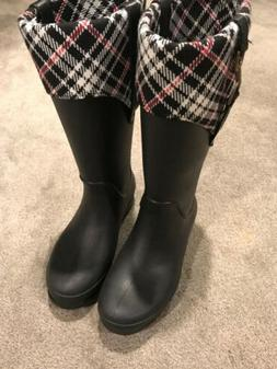 Crocs Croslite Black Plaid Equestrian 1035 Tall Rain/Riding