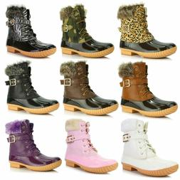 DailyShoes Women Snow Booties Ankle Buckle Duck Padded Mud R
