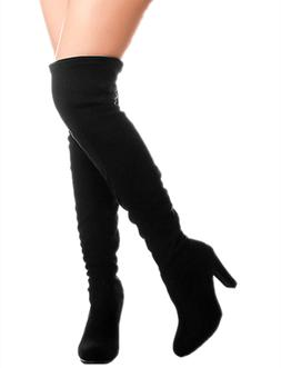 Forever Dasia-H1 Women's Stacked Chunky Heel Stretch Thigh H