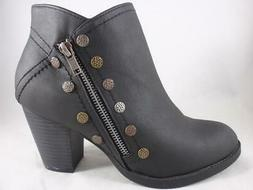 WALLFLOWER Daydream Women's Ankle Boots Black Zip Up Studded