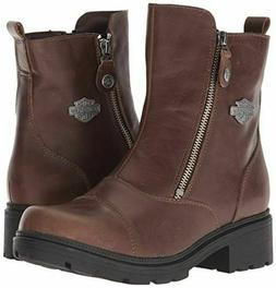 Harley Davidson Amherst D84237 Brown Leather Toe Ankle Boots