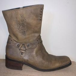 Harley Davidson Leather Boots Womens Size 11 Brown Eagle Log
