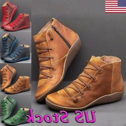 Hot Women's Autumn Arch Support Boots Leather Flat Heel Boot