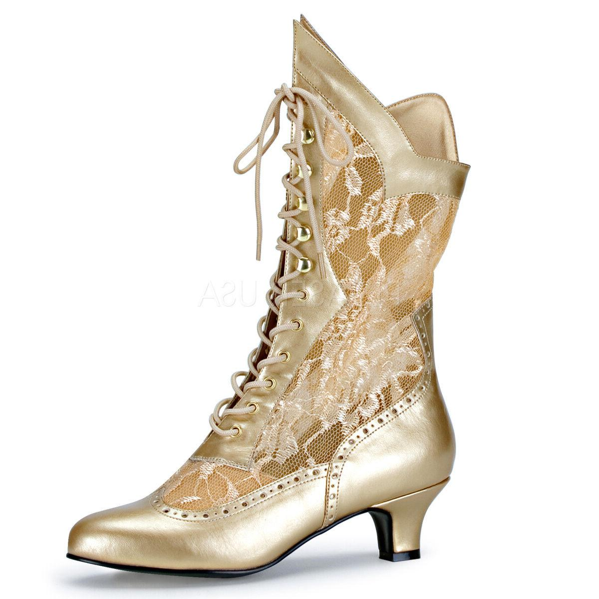 2 gold lace up victorian vintage steampunk