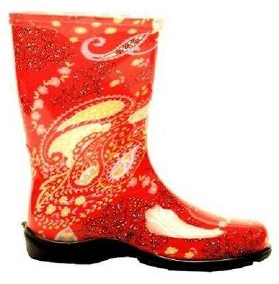 SLOGGERS 5004RD07 SIZE 7 WOMENS GARDEN BOOTS PAISLEY RED WAT