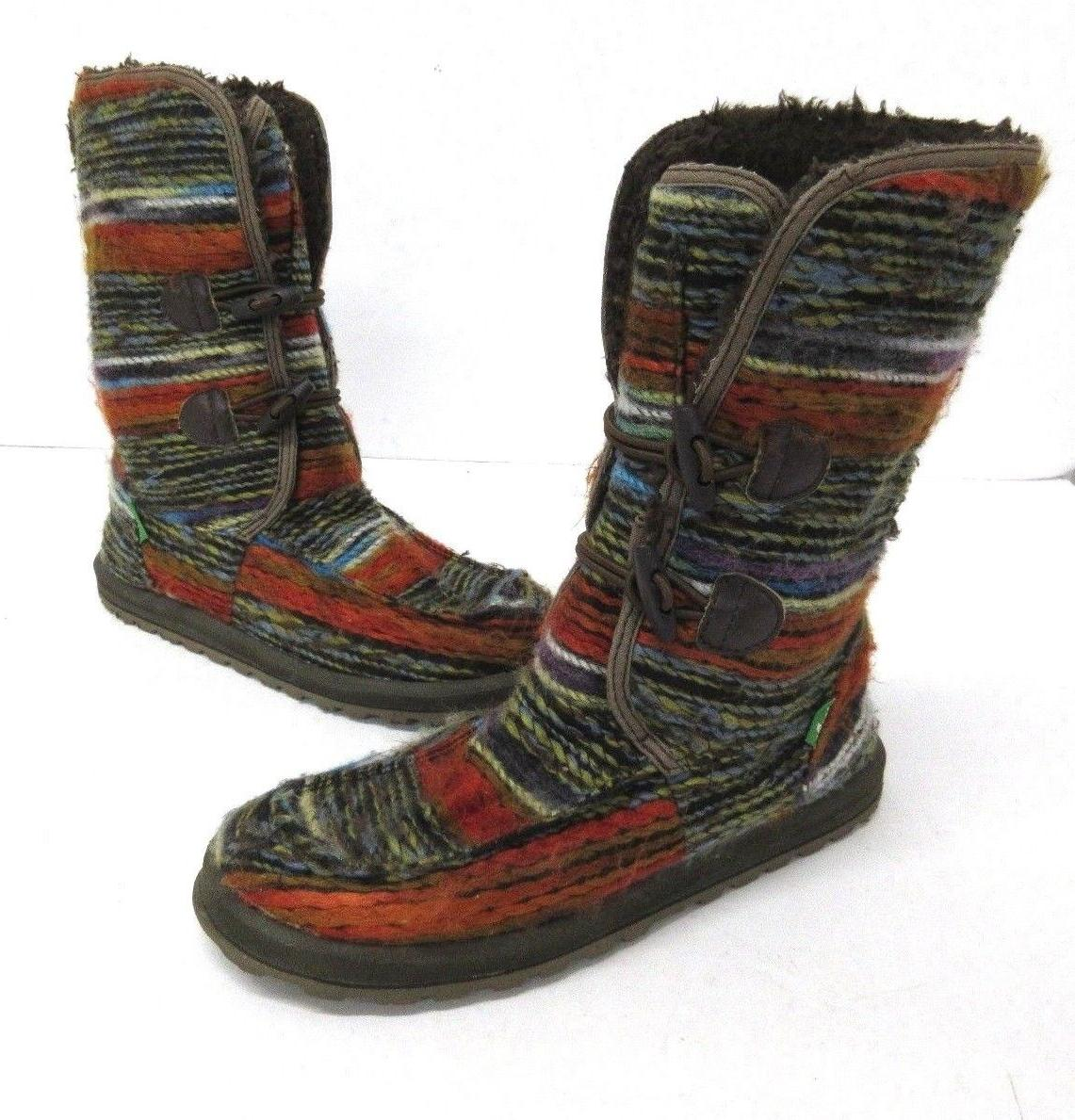 NEW Sanuk Women's Chill Fur Stitched Boots Multicolor Size 7