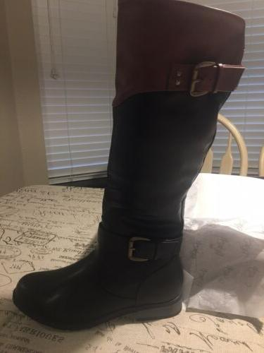Women Riding Boots by Refresh, Style: Merlot, two tone, cute