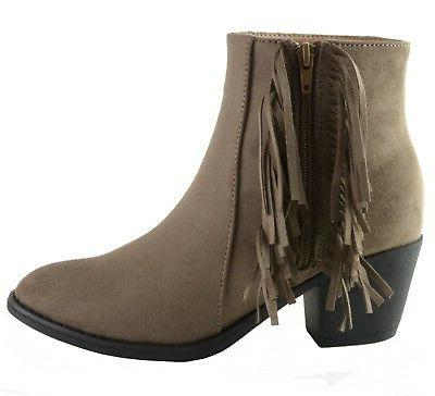 Alpine Swiss Arosa Ankle Fringe Shoes Block High Suede