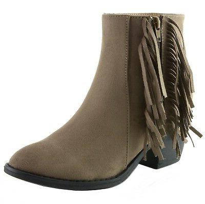 arosa womens ankle boots fringe shoes block