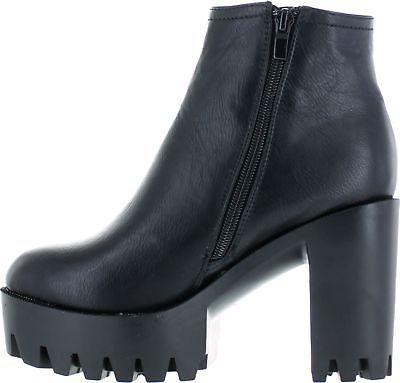 Refresh FABIA-01 Side Zip Sole Platform Chunky Ankle