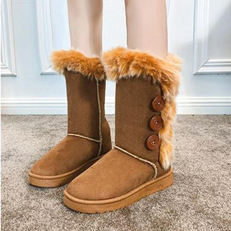 <font><b>Women</b></font> Large Size High Classic Fleece Autumn Big Shoes <font><b>Boots</b></font>