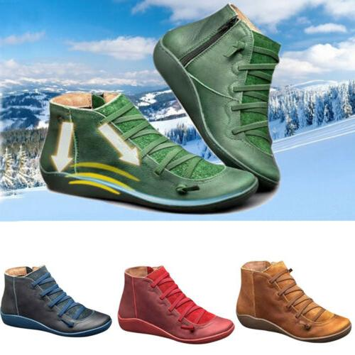Hot Autumn Arch Support Boots Leather Flat Heel US