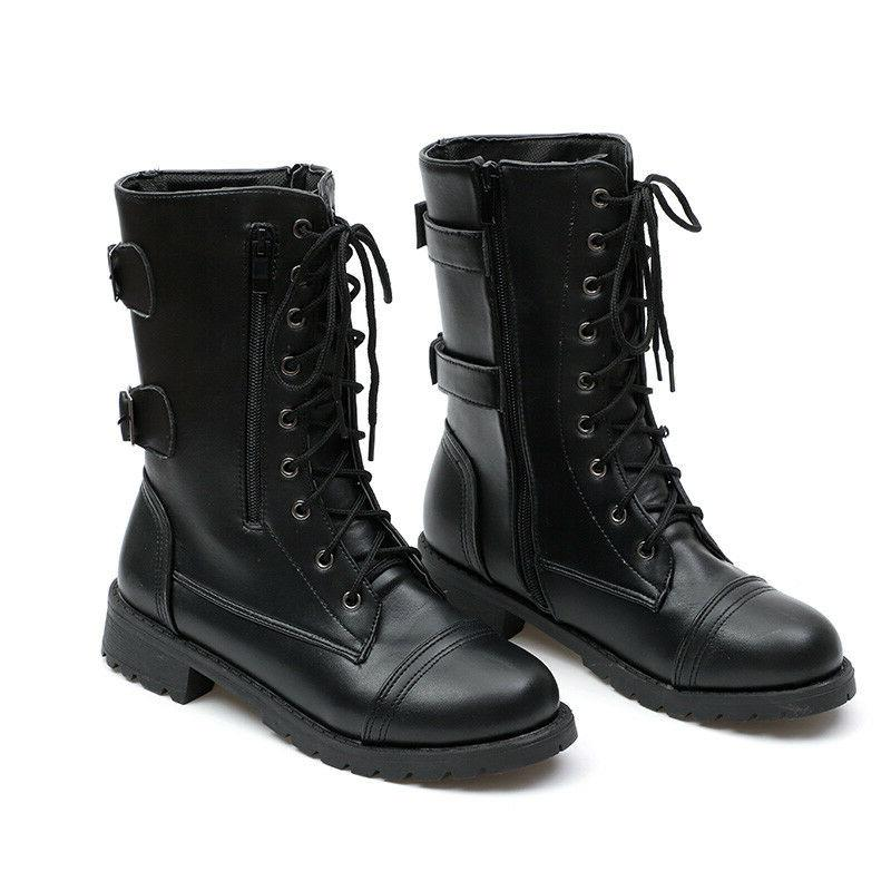 Ladies Military Boots Army Combat Ankle Shoes Size