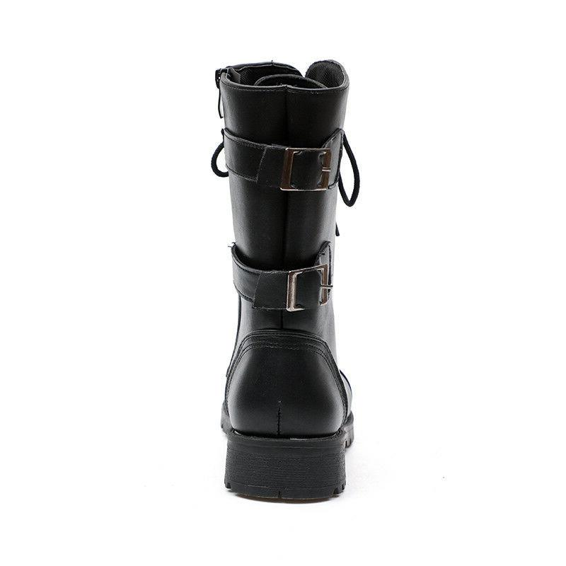 Women Combat Boots Lace Zipper New Women Boot 6-10.5
