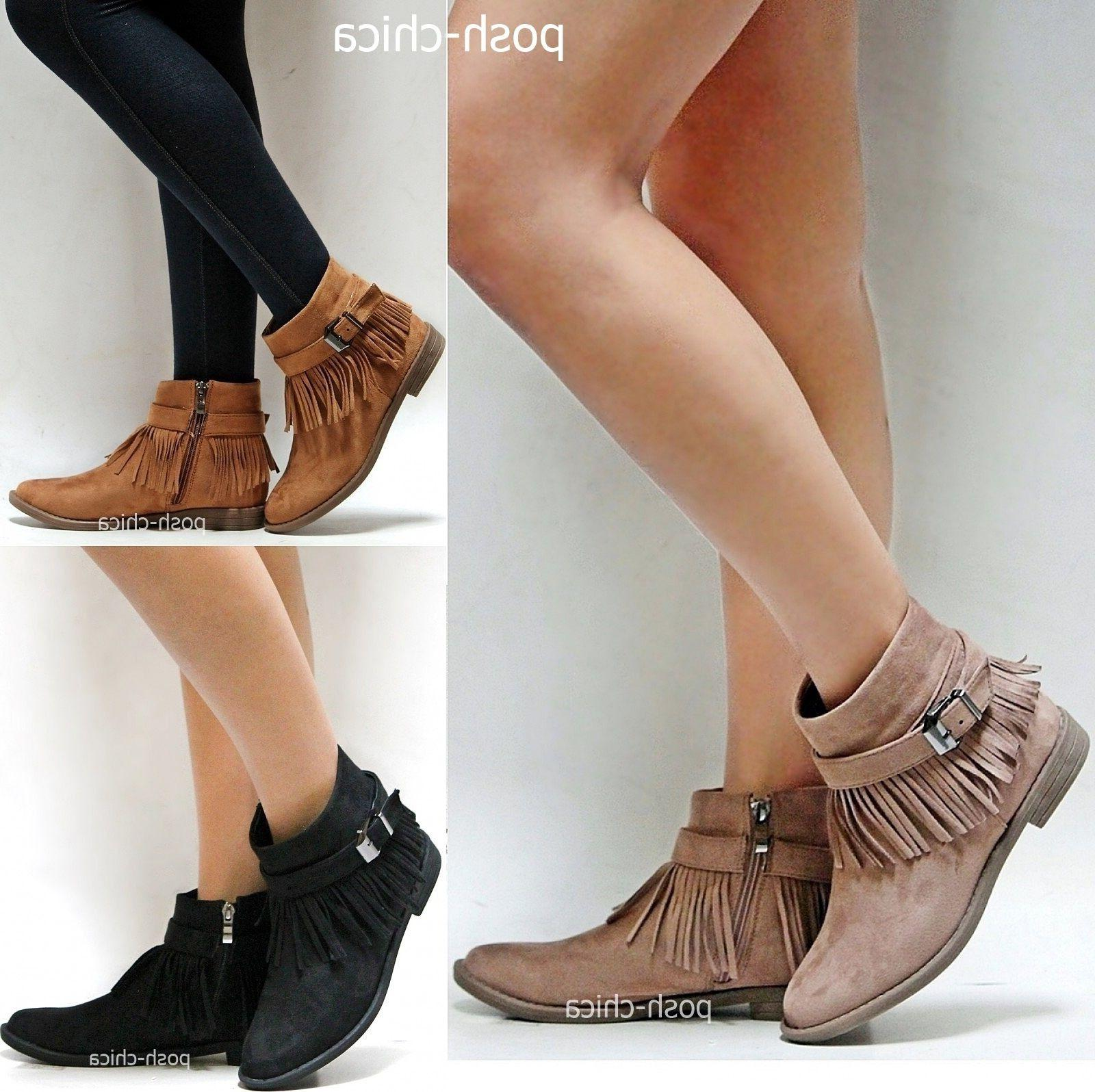 New Women AMy Taupe Tan Black Western Fringe Moccasin Boots