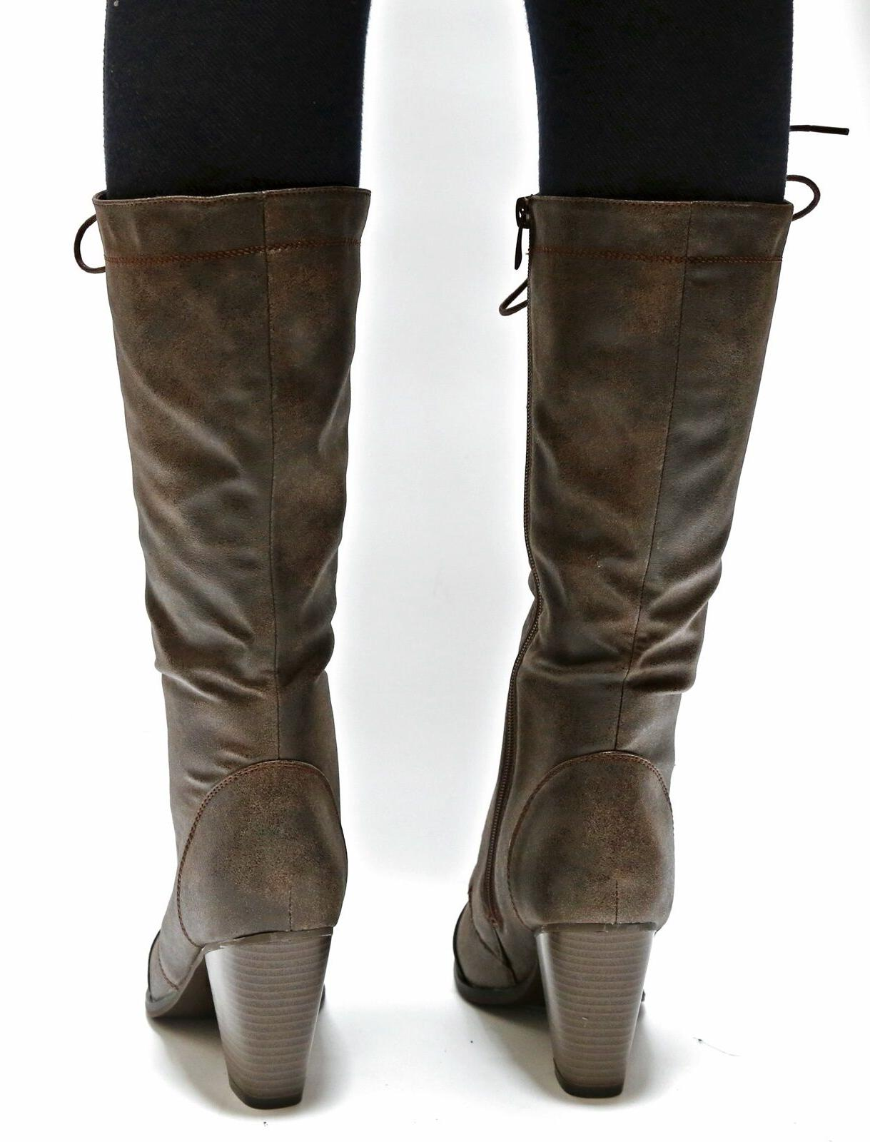 New Women Tan Brown Lace Up Riding Heel Boots