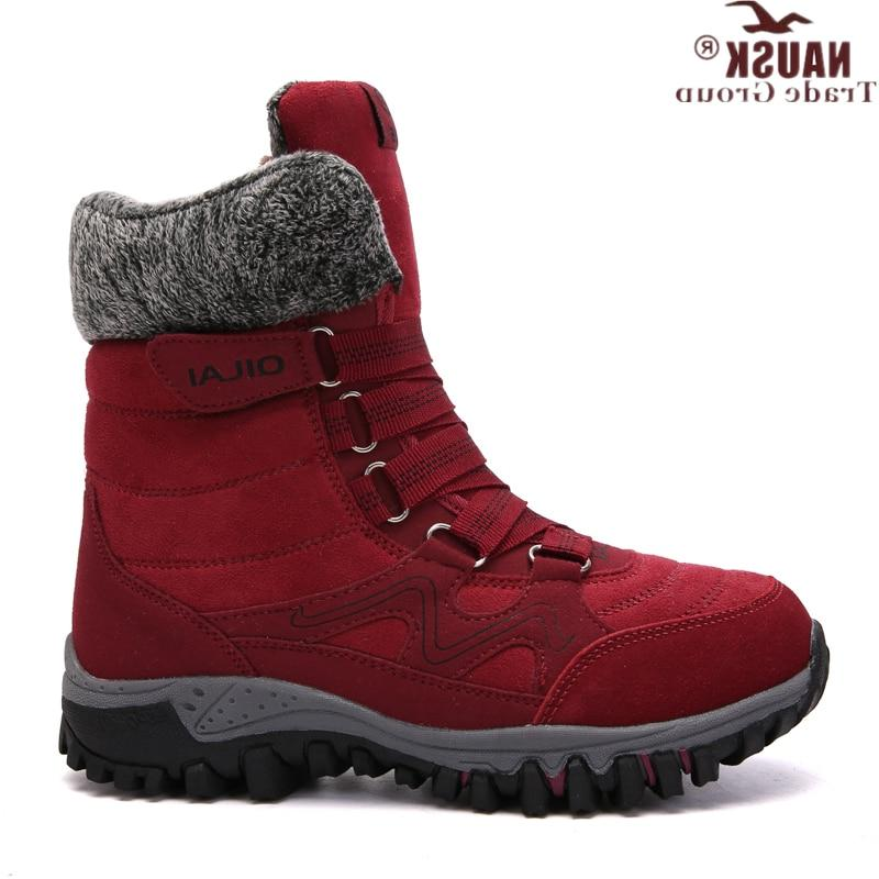 NAUSK High Quality Leather Winter <font><b>Boots</b></font> Keep Waterproof Snow