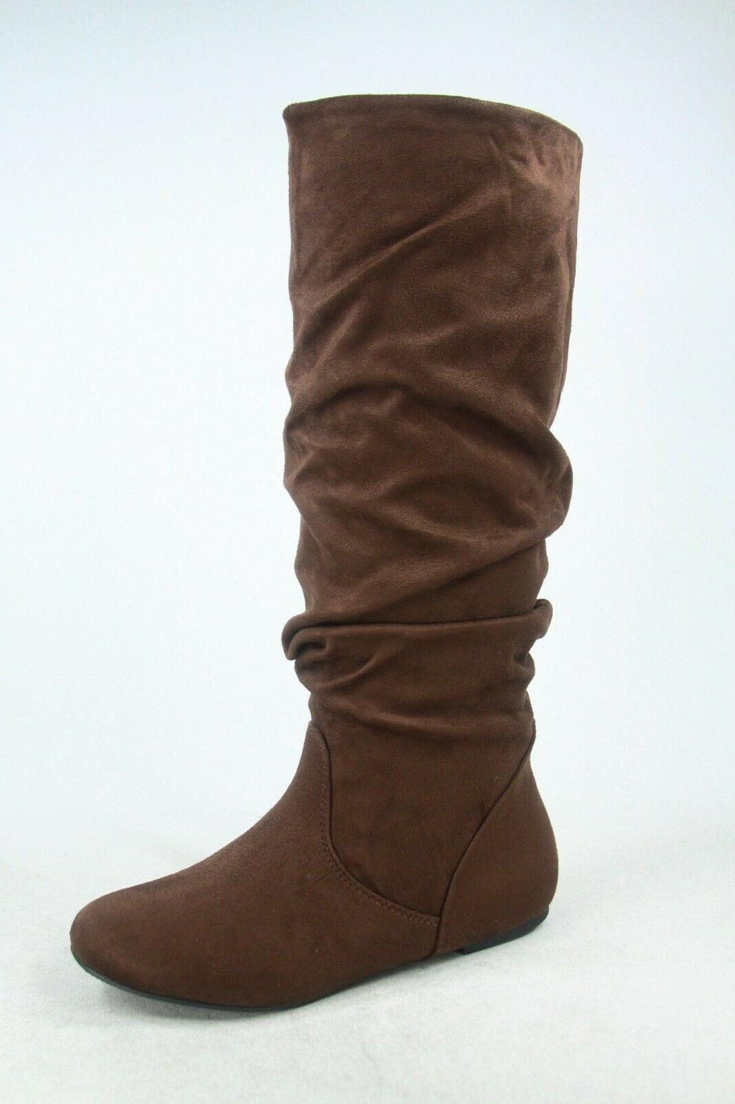 NEW Faux Suede Leather Heel Knee High 6
