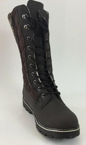NEW Refresh Women's Polar Mid-Calf Quilted Lace Up Brown Win