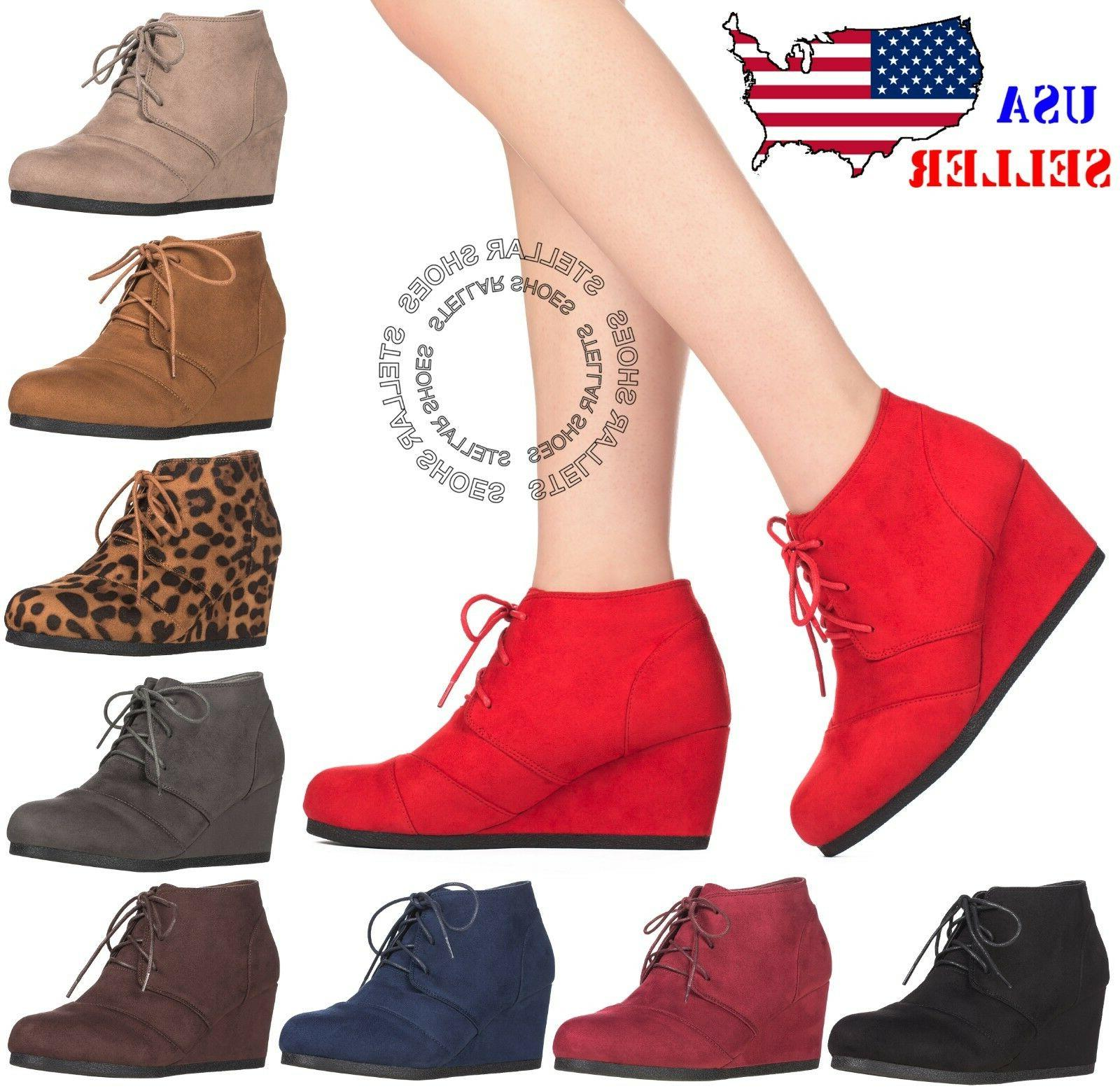 39912bec25a98 New Women's Round Toe Lace Up Wedge Heels