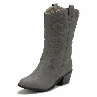 New Women's Tall Stitched Low Chunky Block Heel Western Cowb
