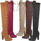 New Women Vegan Suede Lace Up Over The Knee Boot Chunky Thic