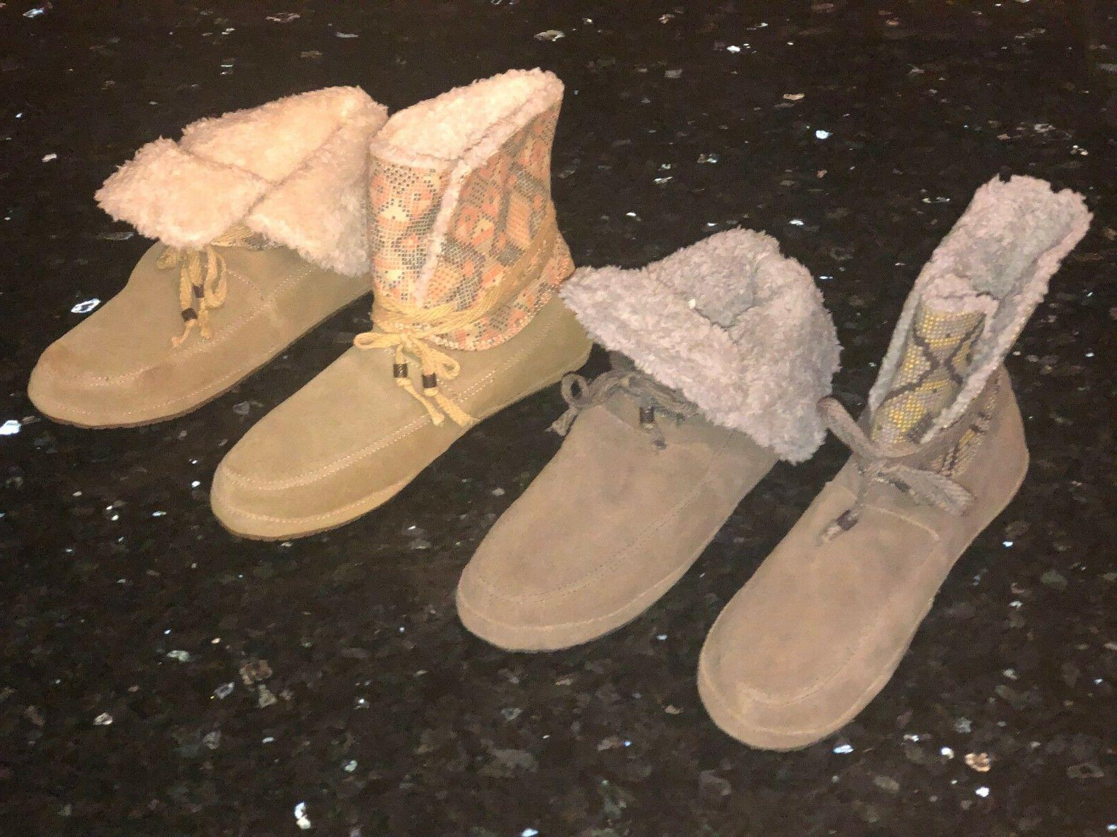New Womens SANUK SUN DOWN CHILL Suede Booties Chestnut Grey