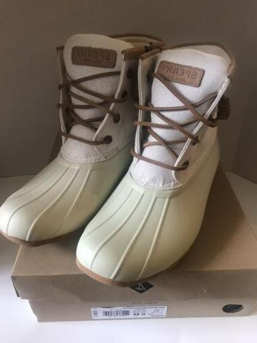 NIB Sperry Duck Boots Ivory Sz 8