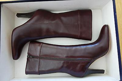 NIB Brooks Brothers Women Leather Boots Brown or Burgundy Si