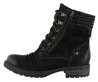 Earth Summit Combat  Leather Womens Boots Mid Calf  Low Heel