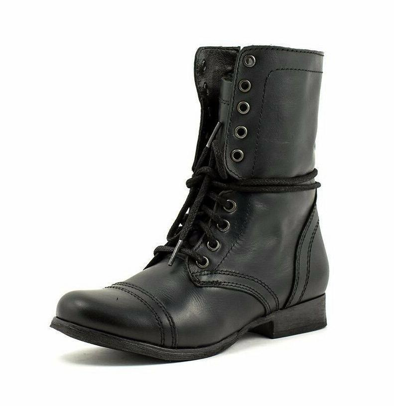 Steve Madden TROOPA Womens Black Leather High Lace Up Combat