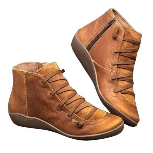 Hot Arch Support Boots Leather Flat US