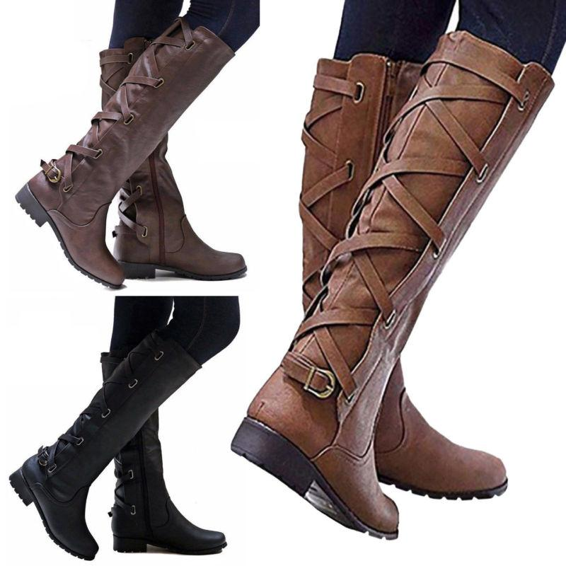 us women riding boots lace up mid