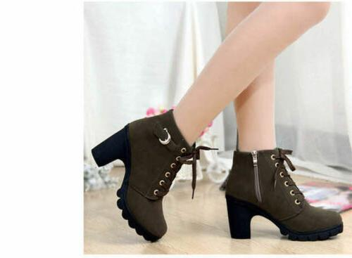 Women High Heels Lace Up Ankle Boots Zipper Size