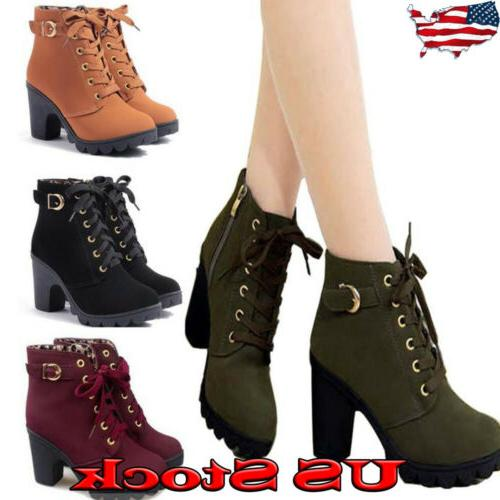 us womens high heel lace up ankle