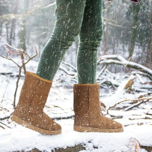 Winter Snow Boots Faux Suede Mid 5-10 US