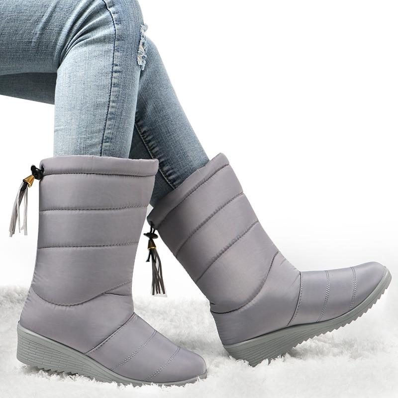 Winter Waterproof <font><b>Boots</b></font> Mid-Calf <font><b>Boots</b></font> Shoes <font><b>Snow</b></font> Plush Insole Shoes Botas Mujer