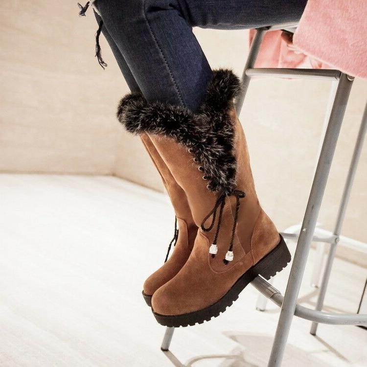 winter women fur lined boots flats mid