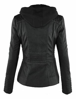 Made By Womens Removable Hoodie Motorcyle Jacket Black