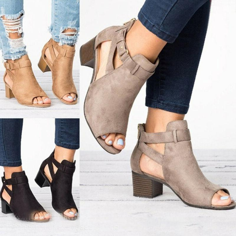 Women Block Mid Heels Chunky Toe Ankle Strap Boots Shoes