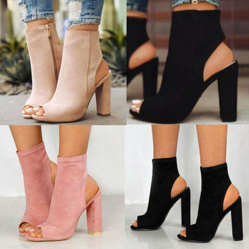 Women Mid Heels Chunky Toe Boots Shoes