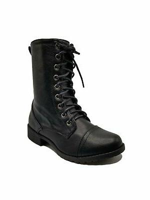 women combat lace up mid calf boots
