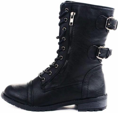 Womens Lace Up Zip Buckle Motorcycle Black Winter Boots